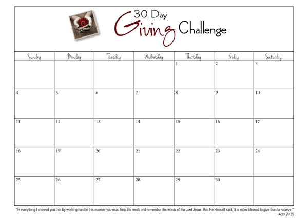 30-Day Giving Challenge Calendar